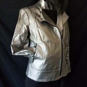 Silver Authentic Leather Jacket